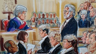 Dave Lee Travis on the final day of his trial at Southwark Crown Court in London