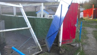 Strong winds caused damage at West Auckland animal sanctuary.