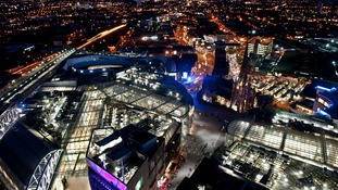 A nighttime view of the Bullring, St Martin's Church and Digbeth