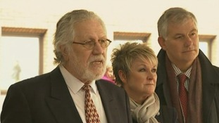 Dave Lee Travis speaks to reporters outside court after he was acquitted of 12 charges