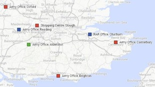 Locations where suspect packages have been found