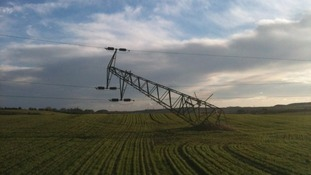Electricity pylon bears the brunt of strong winds in Houghton-le-Spring.