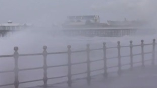 Storms have been battering the coasts of northern England.