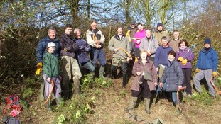Volunteers at the Bar Hill nature reserve in Cambridgeshire