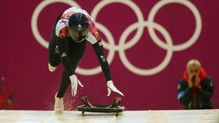 Lizzy Yarnold competing in the women's skeleton at Sochi