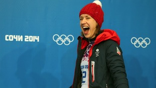 Ms Yarnold showed obvious delight at her victory after four rounds of skeleton racing