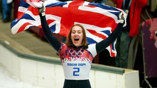 Ms Yarnold flew the union flag with pride after her win