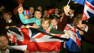 Pupils at St Michaels School in Otford, Kent, celebrate Lizzy Yarnold's skeleton gold