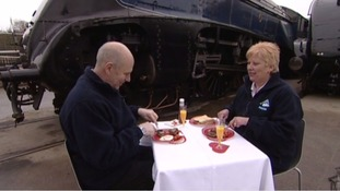 Train enthusiasts Neil and Lynda Adams enjoy a Valentine's Day breakfast.