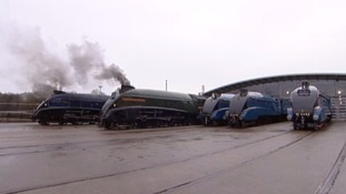 Six class A4 locomotives are on show at the National Railway Museum in Shildon.