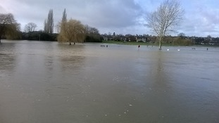 The River Great Ouse has burst its banks in St Neots, Cambridgeshire