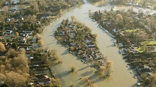 Flood water surrounds homes in Shepperton, Surrey.