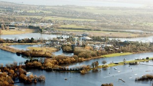 Thorpe Park in Surrey sits in flood water.