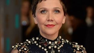 Maggie Gyllenhaal arrives at the British Academy Film Awards.