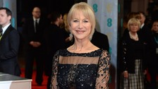 Dame Helen Mirren arrives on the Bafta red carpet, where the Duke of Cambridge will present her with a Fellowship award.