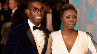Tinie Tempah and Laura Mvula on the red carpet of the Bafta awards.