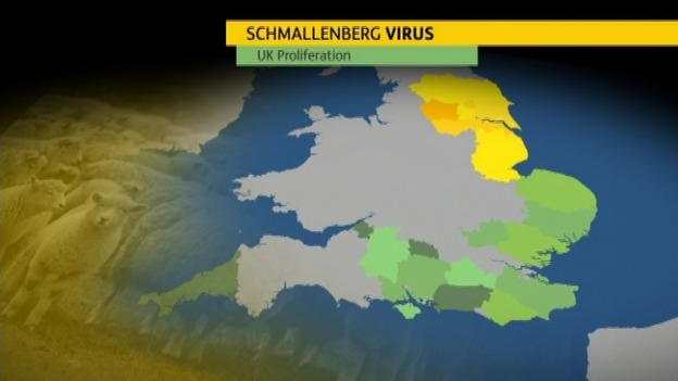 Areas in green show counties hit by the virus