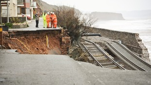 The mainline track at Dawlish