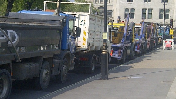 Traffic is at a standstill at recycling tax protest