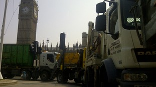 Skip lorries protest at Westminster
