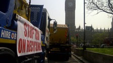 Lorries pile up in front of Parliament Square