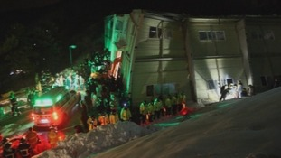 The scene following the building collapse in Gyeongju, South Korea.
