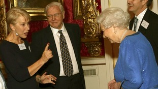 Dame Helen Mirren speaks to the Queen as Sir David Attenborough looks on.