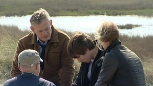 Martin Clunes, Hermione Norris and Alex Arnold filming new drama in Southwold