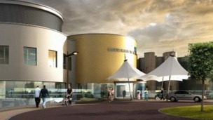 Artists' impression of the new hospital near Cramlington.