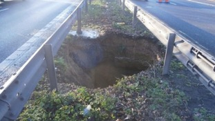 A sinkhole also opened up in the central reservation of the M2 in Kent.