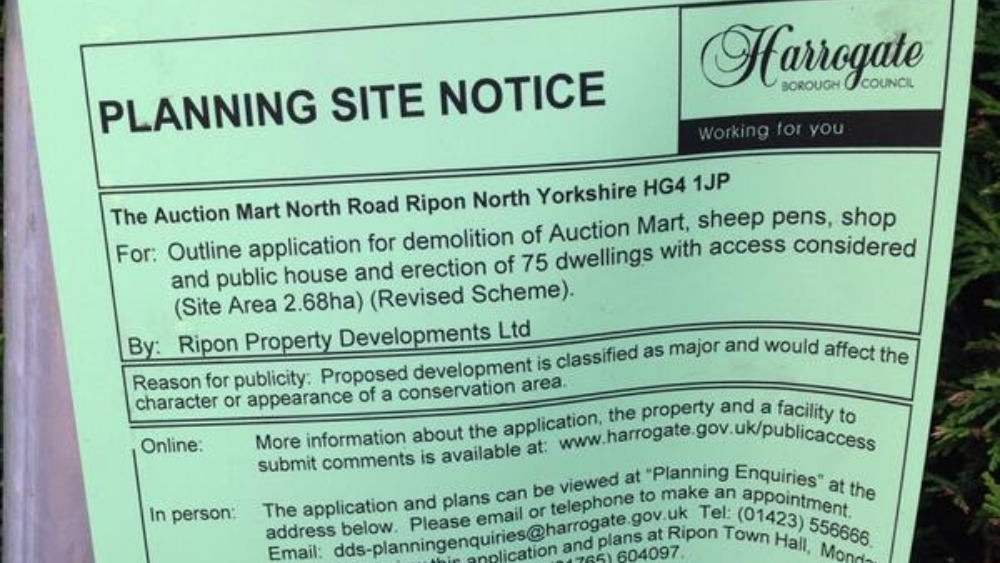 Planning Permission Notice Next To Sinkhole Site Tyne
