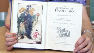 Close up of the book Adventures of Pinnochio