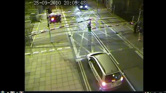 CCTV of a Lincoln level crossing