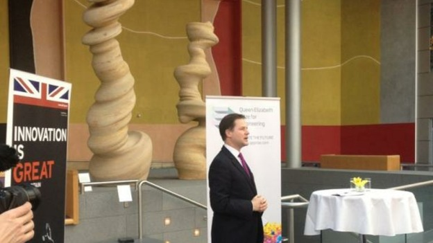 Nick Clegg, framed by 'bitter and twisted' sandstone statue raises BayernM/Chelsea