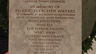 the plaque dedicated to Royal Fusiller Lt Eric Waters.