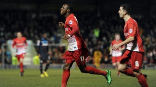 Leyton Orient's Moses Odubajo celebrates scoring the opening goal against Stevenage.