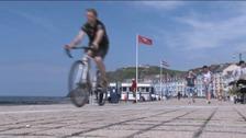 A cyclist on Aberystwyth seafront