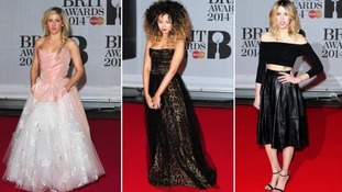 Ellie Goulding, Ella Eyre and Peaches Geldolf walk the Brits red carpet.