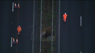 A sinkhole recently emerged on the central reservation of the M2 in Kent.