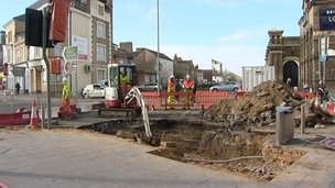 A mystery hole developed in Lowestoft town centre.