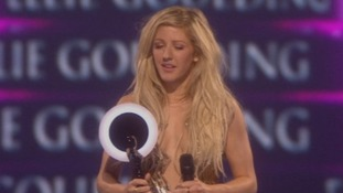 Ellie Goulding picks up the Brit Award for British Female Solo Artist.