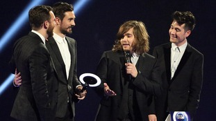 Bastille pick up the British Breakthrough Act gong at the Brit Awards.
