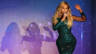 Beyonce peforms on stage during the 2014 Brit Awards.