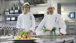 Lloyd Pinder + Master Chef Loic Malfait at Le Cordon Bleu in London