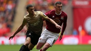 Lee Collins, seen here in last year's play-off final defeat against Bradford City, has been ruled out for the season.