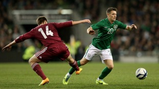 Wes Hoolahan in action for the Republic of Ireland against Latvia.