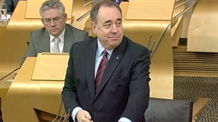 First Minister Alex Salmond inside the Scottish Parliament today.