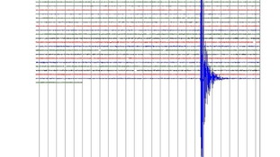 Real-time Seismogram data from a survey station in North Devon showing a large seismic activity at 1.21pm