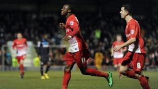 Leyton Orient's Moses Odubajo celebrates scoring the opening goal against Stevenage recently.