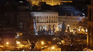 The scene tonight at Kiev's central Independence Square, where protesters have gathered.